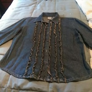 Emma James vintage  frilled denim shirt